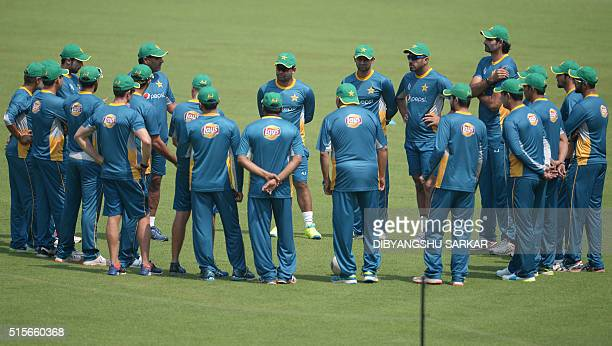 Pakistan's cricketrs attent a training session at the Eden Gardens ahead of their first match in World T20 cricket tournament against Bangladesh in...