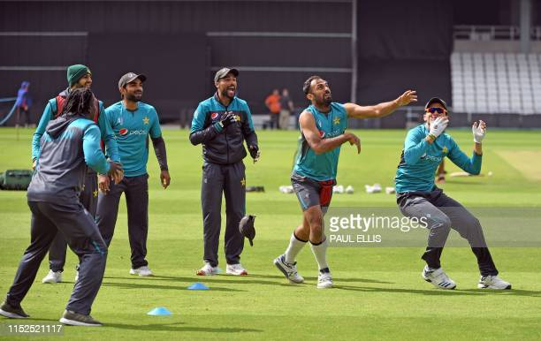 Pakistan's crickets attend a training session at Headingley in Leeds northern England ahead of their World Cup cricket match against Afghanistan on...