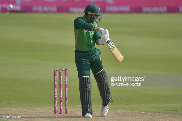Pakistan's Danish Aziz knicks the ball into the hands of South African wicketkeeper Quinton de Kock that leads to his dismissal during the second...