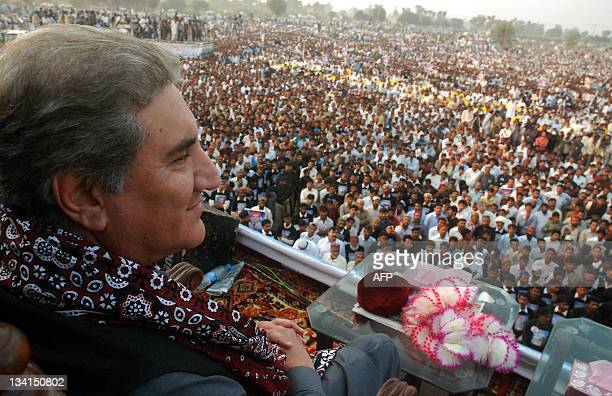 Pakistan's exforeign minister Shah Mehmood Qureshi attends a public meeting in the southern town of Ghotki on November 27 2011 Shah Mehmood Qureshi...