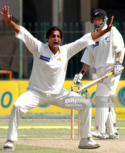 Pakistan's express pacer Shoiab Akhtar appeals successfuly against New Zealand batsman Brooke Waeker during his carrier best 6-11 on the third day of...
