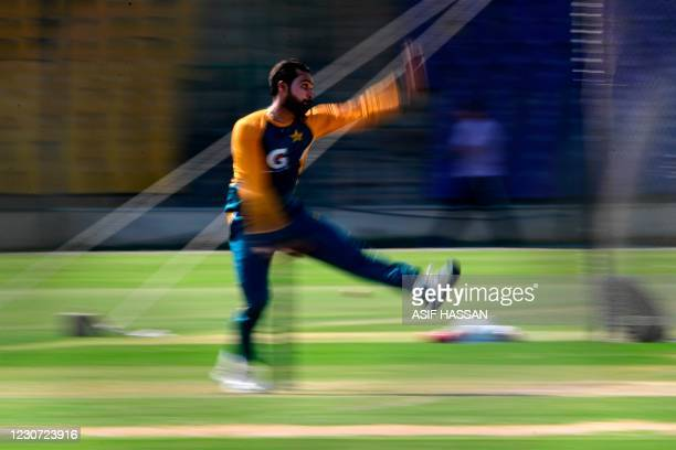 Pakistan's Faheem Ashraf attends a practice session at the National Stadiumin Karachi on January 22 ahead of their first cricket test match against...