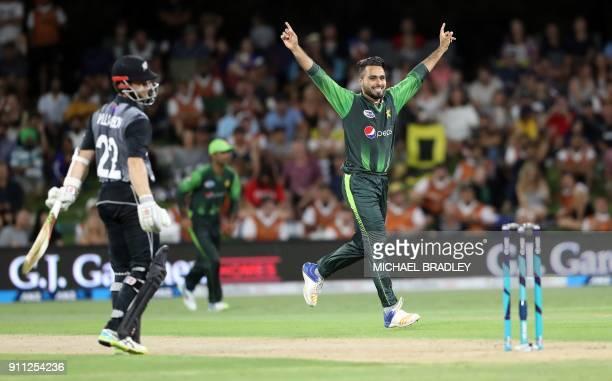 Pakistan's Faheem Ashraf celebrates the wicket of New Zealand's Kane Williamson during the third Twenty20 international cricket match between New...