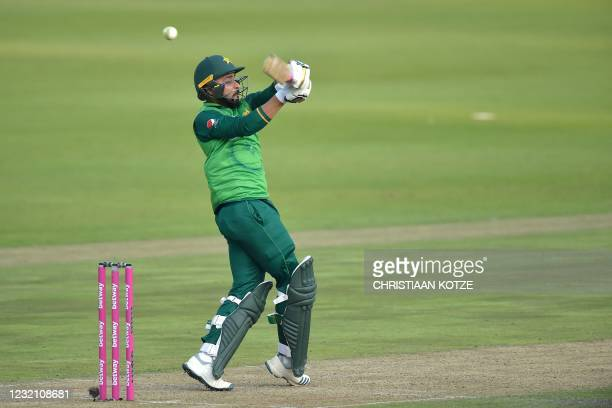 Pakistan's Faheem Ashraf knicks the ball into the hands of South African wicketkeeper Quinton de Kock that leads to his dismissal during the second...