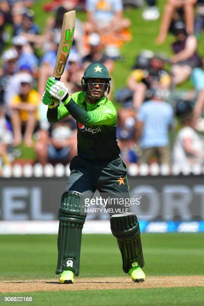 Pakistan's Fakhar Zaman bats during the 5th oneday international cricket match between New Zealand and Pakistan at the Basin Reserve in Wellington on...