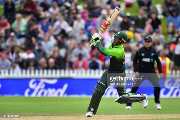 Pakistan's Fakhar Zaman bats during the first one day international cricket match between New Zealand and Pakistan at Basin Reserve in Wellington on...
