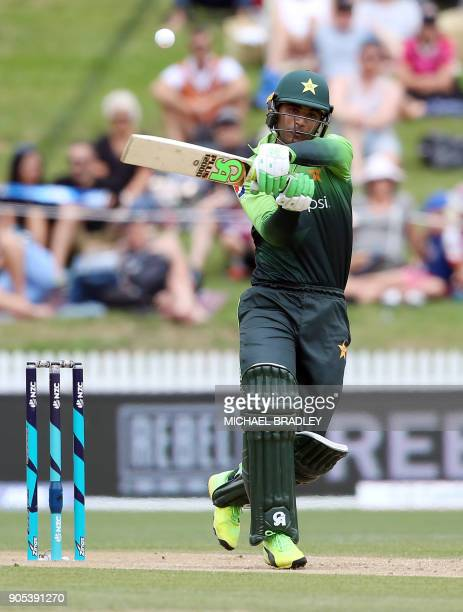 Pakistan's Fakhar Zaman bats during the fourth oneday international cricket match between New Zealand and Pakistan at Seddon Park in Hamilton on...
