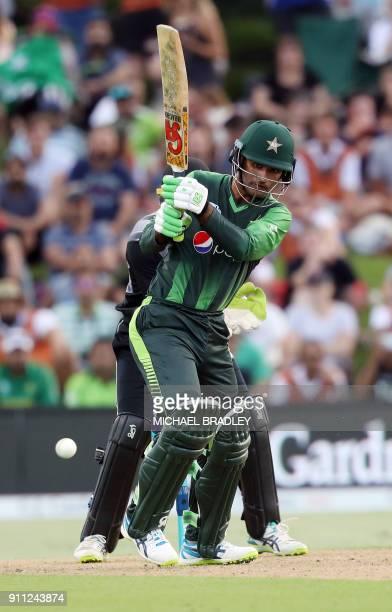 Pakistan's Fakhar Zaman bats during the third Twenty20 international cricket match between New Zealand and Pakistan at Bay Oval in Mount Maunganui on...
