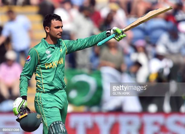 Pakistan's Fakhar Zaman celebrates his halfcentury during the ICC Champions Trophy semifinal cricket match between England and Pakistan in Cardiff on...