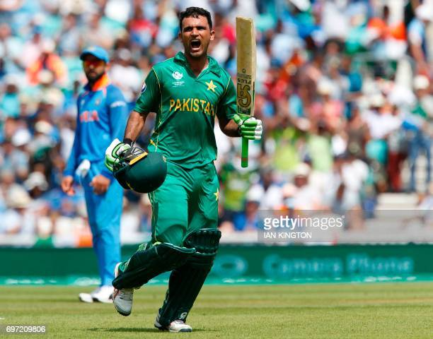 Pakistan's Fakhar Zaman celebrates reaching his 100 during the ICC Champions Trophy final cricket match between India and Pakistan at The Oval in...
