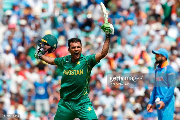 TOPSHOT Pakistan's Fakhar Zaman celebrates reaching his 100 during the ICC Champions Trophy final cricket match between India and Pakistan at The...