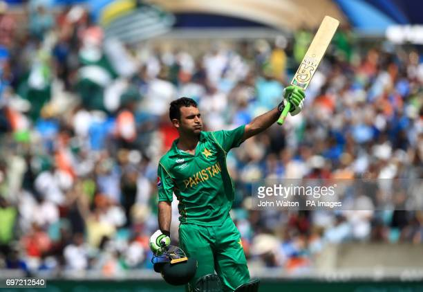 Pakistan's Fakhar Zaman celebrates reaching his century during the ICC Champions Trophy final at The Oval London