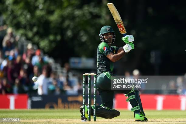 Pakistan's Fakhar Zaman plays a shot during the first Twenty20 International cricket match between Scotland and Pakistan at the Grange Cricket Club...