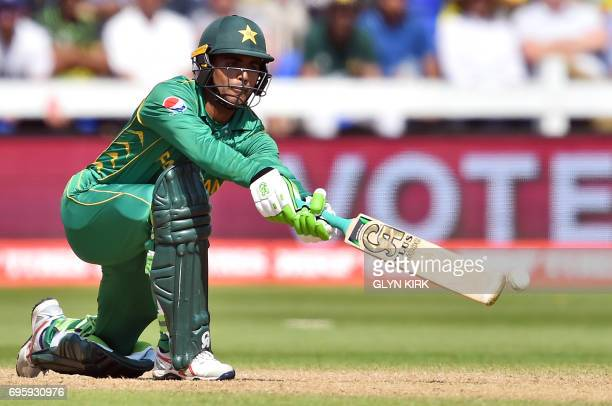 Pakistan's Fakhar Zaman plays a shot during the ICC Champions Trophy semifinal cricket match between England and Pakistan in Cardiff on June 14 2017...