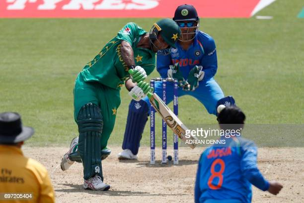 Pakistan's Fakhar Zaman plays a shot during the ICC Champions Trophy final cricket match between India and Pakistan at The Oval in London on June 18...