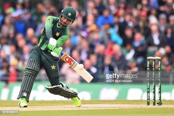 Pakistan's Fakhar Zaman plays a shot for four runs during the second Twenty20 International cricket match between Scotland and Pakistan at the Grange...