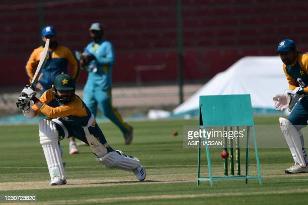 Pakistan's Fawad Alam plays a shot during a practice session at the National Stadiumin Karachi on January 22 ahead of their first cricket test match...