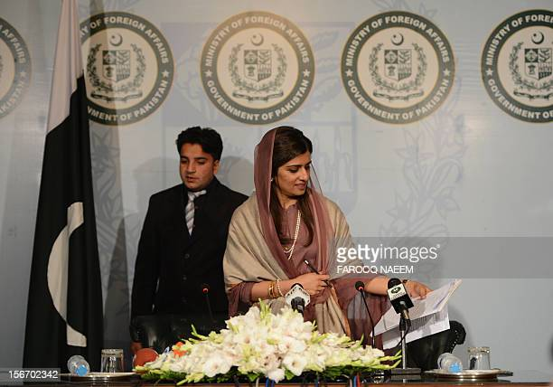 Pakistan's Foreign Minister Hina Rabbani Khar arrives for a press conference on the D8 nation summit in Islamabad on November 19 2012 The summit...