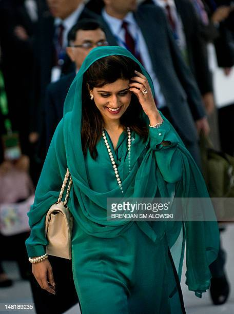 Pakistan's Foreign Minister Hina Rabbani Khar arrives for the 19th Association of Southeast Asian Nations regional forum retreat at the Peace Palace...