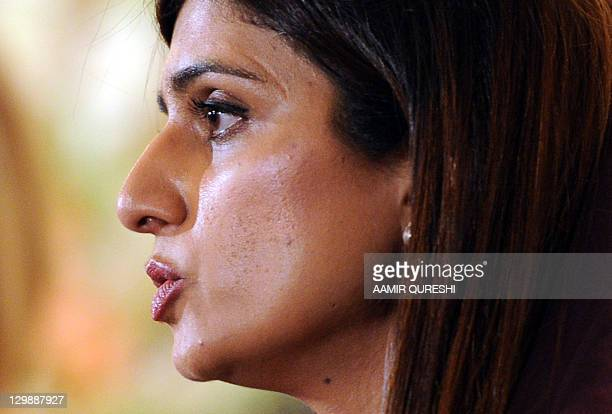 Pakistan's Foreign Minister Hina Rabbani Khar speaks during a joint press conference with US Secretary of State Hillary Clinton after their talks at...