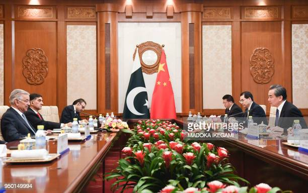 Pakistans Foreign Minister Khawaja Muhammad Asif and Chinese State Councilor and Foreign Minister Wang Yi have a meeting at the Diaoyutai State Guest...