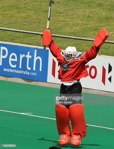 Pakistan's goalkeeper Imran Shah celebrates his team winning the mens match against India at the International Super Series hockey tournament in...
