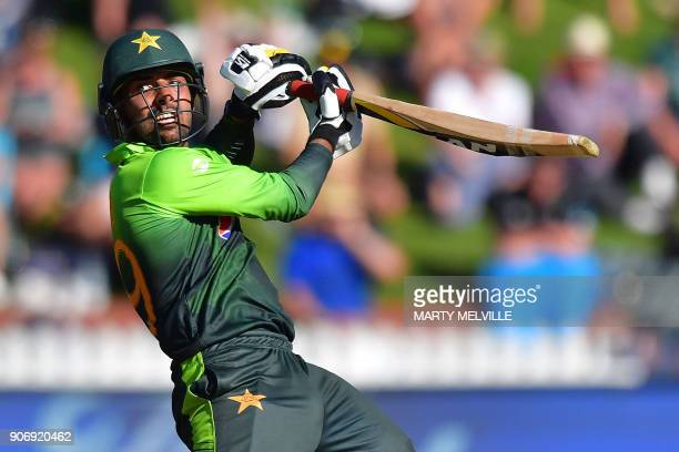 Pakistan's Haris Sohail bats during the 5th oneday international cricket match between New Zealand and Pakistan at the Basin Reserve in Wellington on...