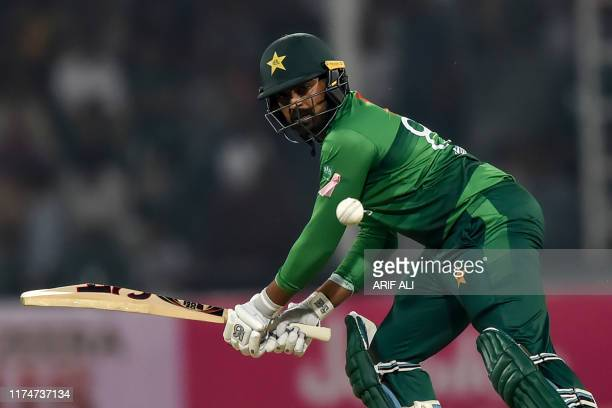 Pakistan's Haris Sohail plays a shot during the third and final Twenty20 International cricket match between Pakistan and Sri Lanka at the Gaddafi...