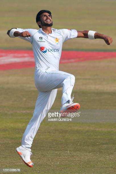 Pakistan's Hasan Ali celebrates after taking the wicket of South Africa's George Linde during the fifth and final day of the second Test cricket...