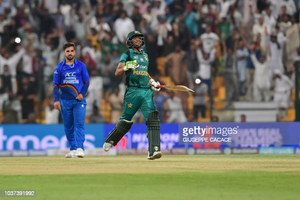 Pakistan's Hasan Ali celebrates at the end of the match during the one day international Asia Cup cricket match between Pakistan and Afghanistan at...