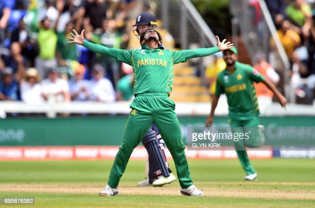 Pakistan's Hasan Ali celebrates taking the wicket of England's Eoin Morgan for 33 runs during the ICC Champions Trophy semifinal cricket match...