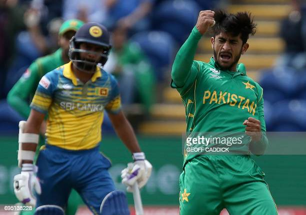 Pakistan's Hasan Ali celebrates taking the wicket of Sri Lanka's Kusal Mendis for 27 runs during the ICC Champions Trophy match between Sri Lanka and...