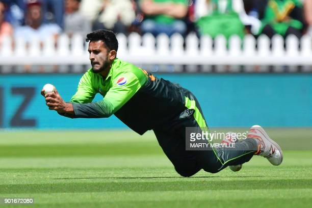 Pakistan's Hasan Ali takes the catch of New Zealand's captain Kane Williamson during the first one day international cricket match between New...