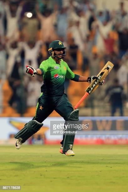 Pakistan's Hassan Ali celebrates match winning run between the wicket during the second Twenty20 series cricket match Pakistan vs Sri Lanka on...