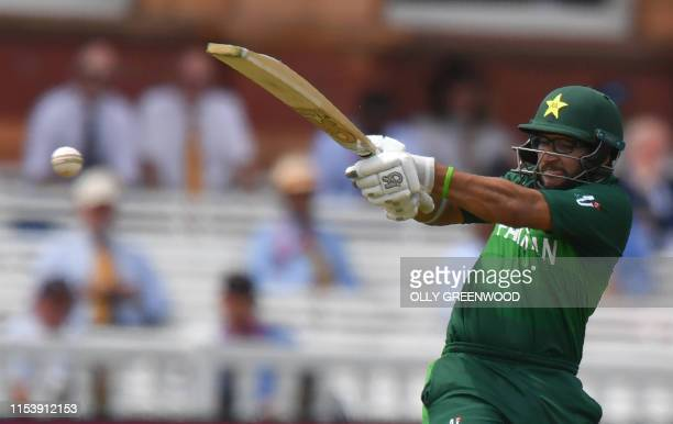 Pakistan's ImamulHaq plays a shot during the 2019 Cricket World Cup group stage match between Pakistan and Bangladesh at Lord's Cricket Ground in...