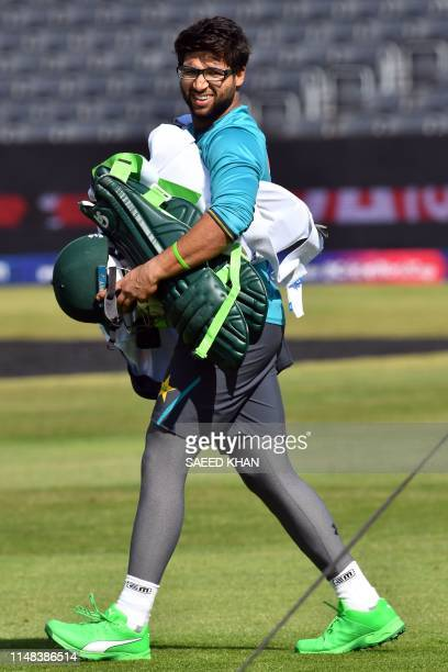 Pakistan's ImamulHaq walks off the field after a practice session in Bristol on June 6 ahead of their 2019 ICC Cricket World Cup match against Sri...