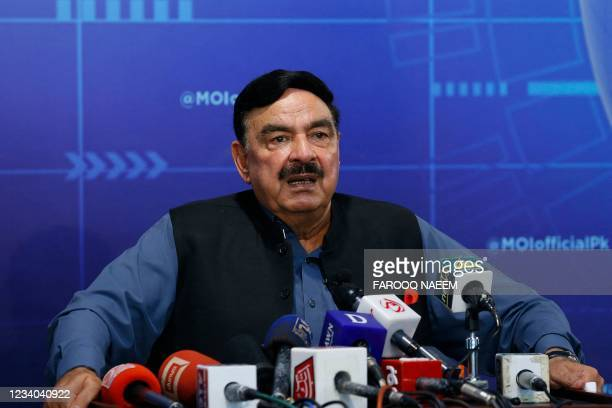 Pakistan's Interior Minister Sheikh Rashid speaks during a press conference on the brief abduction of the daughter of Afghan ambassador to Pakistan,...