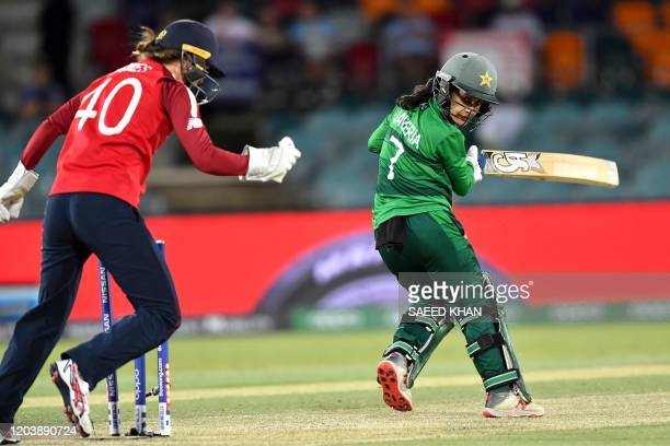 Pakistan's Javeria Khan is clean bowled England's Sarah Glenn during the Twenty20 women's World Cup cricket match between Pakistan and England in...