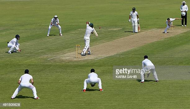 Pakistan's Khurum Manzoor bats the ball during his team's warm up match against England in Sharjah on October 6 2015 AFP PHOTO / KARIM SAHIB / AFP /...
