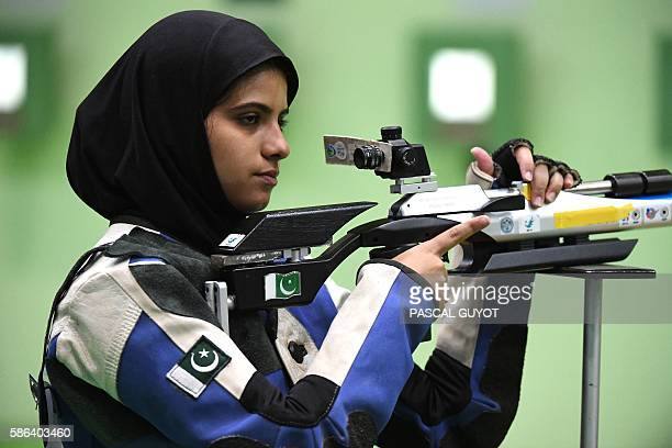 Pakistan's Minhal Sohail competes in the women's 10m air rifle shooting qualifications at the Rio 2016 Olympic Games at the Olympic Shooting Centre...