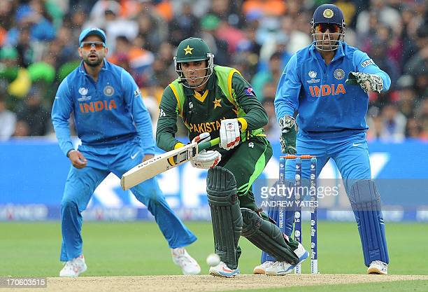 Pakistan's MisbahulHaq bats during the 2013 ICC Champions Trophy cricket match between Pakistan and India at Edgbaston in Birmingham central England...
