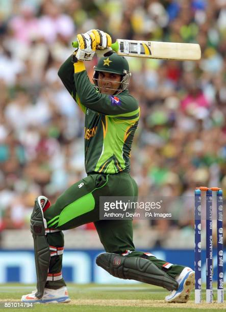 Pakistan's MisbahulHaq hits a boundary during the ICC Champions Trophy match at The Oval London