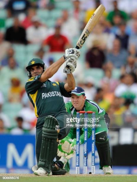 Pakistan's MisbahulHaq hits a six during the ICC World Twenty20 Super Eight match between Ireland and Pakistan at The Oval London 15th June 2009 The...