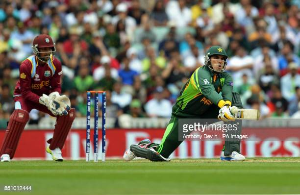 Pakistan's MisbahulHaq plays a reverse sweep during the ICC Champions Trophy match at The Oval London