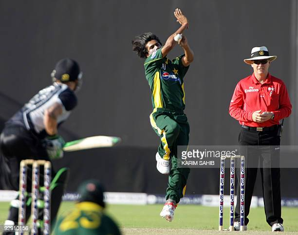 Pakistan's Mohammad Aamir bowls during his team's third and final oneday international against New Zealand in Abu Dhabi on November 9 2009 The...