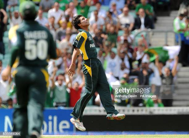 Pakistan's Mohammad Aamir celebrates taking the wicket of Ireland's Niall O'Brien caught and bowled during the ICC World Twenty20 Super Eights match...