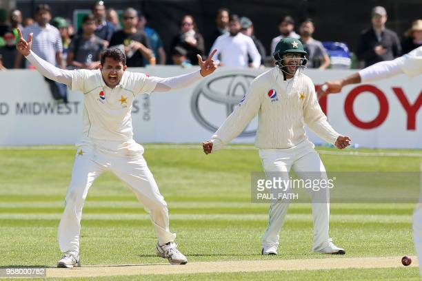 Pakistan's Mohammad Abbas celebrates after trapping Ireland's Ed Joyce leg before wicket during play on day three of Ireland's inaugural test match...
