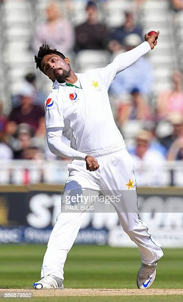 Pakistan's Mohammad Amir bowling during play on the final day of the third test cricket match between England and Pakistan at Edgbaston in Birmingham...