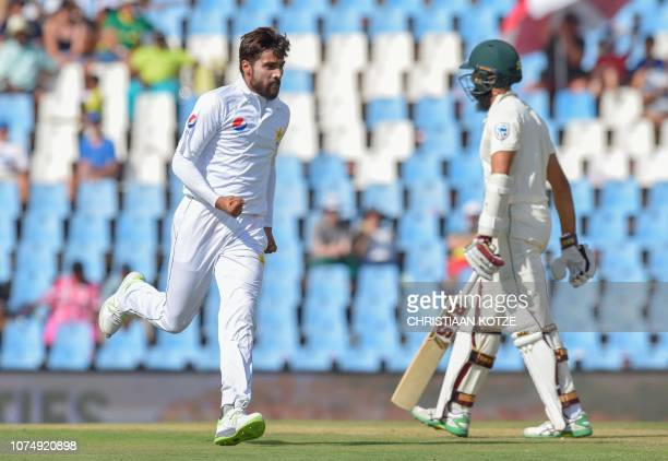 Pakistan's Mohammad Amir celebrates getting the wicket of South Africa's Aiden Markram during day one of the 1st cricket test match between South...