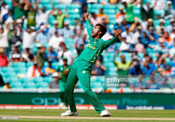 Pakistan's Mohammad Amir celebrates taking the wicket of India's Rohit Sharma lbw for 0 during the ICC Champions Trophy final cricket match between...